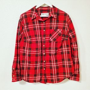 AVA & VIV Plaid Button Down Long Sleeves Shirt